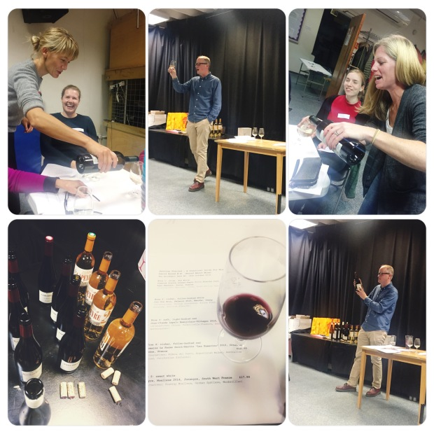 Collage of photos of wine tasting event